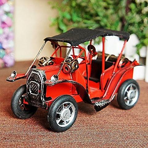 LQK-Auto d'epoca in metallo metallo auto modello desktop decorazione ornamenti , red , 16*8*10cm