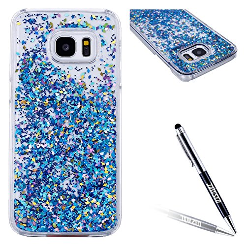 Custodia Samsung Galaxy S7 Edge, Galaxy S7 Edge Cover, Galaxy S7 Edge G935 Custodia Trasparente, JAWSEU Lusso Diamante Scintillio Bling Dura di Plastica Hard Cover Custodia per Samsung Galaxy S7 Edge  Blu