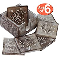 SouvNear Drink Coasters Set of 6 Handmade Square Wood Coasters with Holder Shabby Chic Beverage Coasters - Bar Kitchen Dining Accessories - Home Office Table Top Essentials