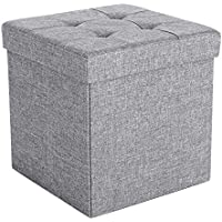SONGMICS Puff Taburete de almacenamiento funcional Textil Lino Gris claro 38 x 38 x 38 cm LSF37H