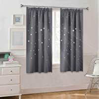 PONY DANCE Kids Blackout Curtains - Grey Bedroom Curtain for Room Darken Pencil Pleat Hollow Out Window Drapes Blinds with Pattern Stars, Sold as 2 Panels, W 46-inch x L 54-inch, Grey