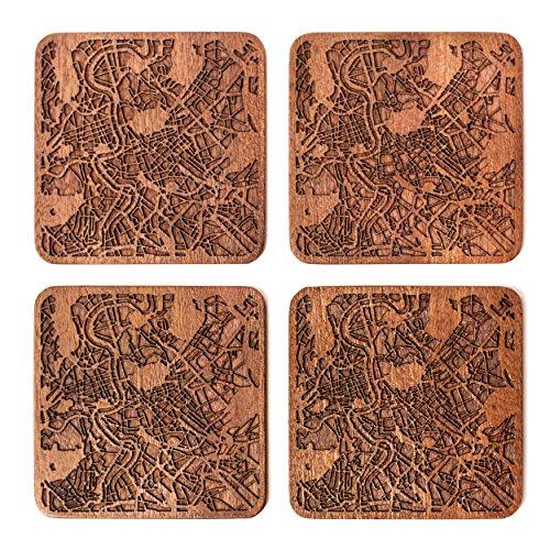 Rom Untersetzer mit Landkarte aus Sapeli-Holz, 4 Stück, mit Stadtkarte, mehrere Stadt optional, handgefertigt
