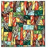 Zindoo Fensterfolie Gemälde Dekofolie Buntglas Fenster Folie Privatleben Film Statisch Sichtschutzfolie Ohne Kleber Glasfenster-Hitzesteuerung Anti-UV 44.5 x 200CM