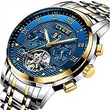 LIGE Relojes Hombre Moda Acero Inoxidable Impermeables Mecánico Automático Reloj Hombre Lujoso Comercio Cronógrafo Calendario Militar