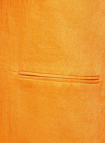 oodji Collection Donna Gilet Lungo in Lino Arancione (5500N)