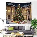 Weihnachten DekoTapisserie, Riou Xmas Weihnachtsbaum Pfirsich Stoff Gobelin Wall Hanging Tapisserie Sofakissen Startseite Dekorative Home Wall Decor (Mehrfarbig C, 150x130 cm)