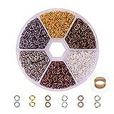 Pandahall 1 Scatola 6 Colori 3300PCS Anellini Aperti Anellini per Bigiotteria di Ferro Senza Nichel, Chiusi ma Non-Saldatura, Colore Misto, 4x0.7mm