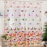 Bovake Gardine Duschvorhang Schmetterling Druck Sheer Fenster Panel Vorhänge Raumteiler Neue Für Wohnzimmer Schlafzimmer Mädchen 200X100 CM