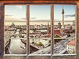 Skyline von Berlin Fenster 3D-Wandsticker Format: 92x62cm Wanddekoration 3D-Wandaufkleber Wandtattoo