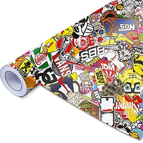Stickerbomb–Design: N–toutes les tailles. Film Brillant et coloré 3D Car Wrapping avec marques authentiques Sticker Bomb Logo autocollants de JDM, Design: Neu - bunt glänzend, 30x150cm