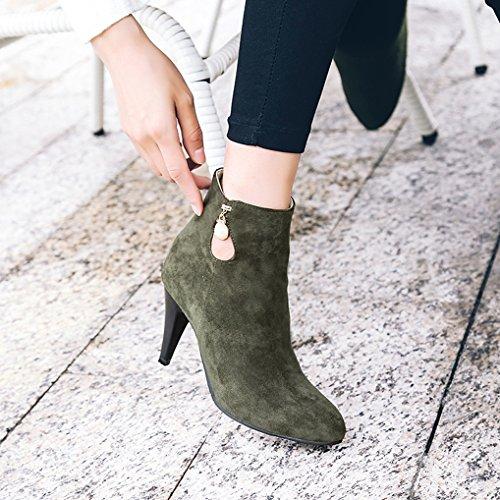 Bottines talons soirée perle Vert hiver Oaleen boots chaussures aiguille mariage fourrées femme pFqx4ZR