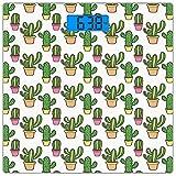 Digitale Präzisionswaage für das Körpergewicht Platz Kaktus Ultra dünne ausgeglichenes Glas-Badezimmerwaage-genaue Gewichts-Maße,Vasen und Töpfe mit Blumen-niedlichem Cartoon, der bunte Sommerpflanzen