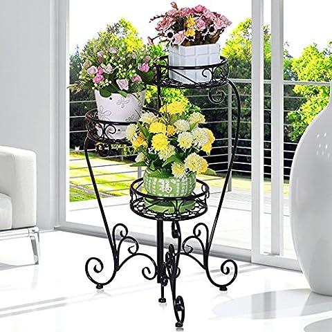 Fer Folding Flower Stand Floor Style Pots de fleurs Balcon Living Room Indoor and Outdoor Flower Rack (66 * 74cm) ( Couleur : Noir )