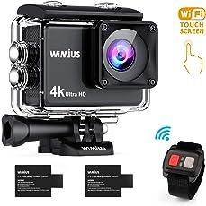 WiMiUS AI8000 Action Cam 4K Touch Screen Wasserdichte WiFi HD 16MP Action Kamera Unterwasserkamera 30M Sport Camera 170° weitwinkel Objektiv mit Fernbedienung und Helmbefestigungs-Kit