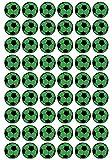 54 Aufkleber, Fußball, Sticker, 30 mm, grün/schwarz, aus PVC, Folie, bedruckt, selbstklebend, EM, WM, Bundesliga