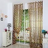 Notdark Blatt Sheer Vorhang Schlaufenschal Transparent Vorhang Voile Gardinen Fenster Voile 200x100 cm 1 Panel Fabric (100 x 200 cm, Kaffee)