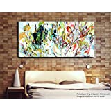 Tamatina Modern Art Canvas Paintings - White Daisies - Flowers - Abstract Paintings - Large Paintings - Paintings For Living Room - Paintings For Bedroom - Abstract Wall Paintings - Without Frame.