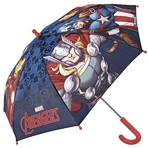Paraguas para Niño Marvel Los Vengadores - Paraguas Largo Avengers con Capitán América Iron Man y Thor - Resistente, antiviento y seguro con Apertura de seguridad - Azul - Diámetro 76 cm - Perletti