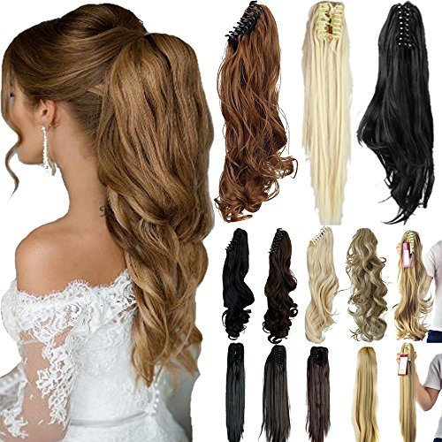"""Lelinta 18"""" 21"""" Straight Curly Synthetic Clip In Claw Ponytail Hair Extension Synthetic Hairpiece 150g with a jaw/claw clip"""