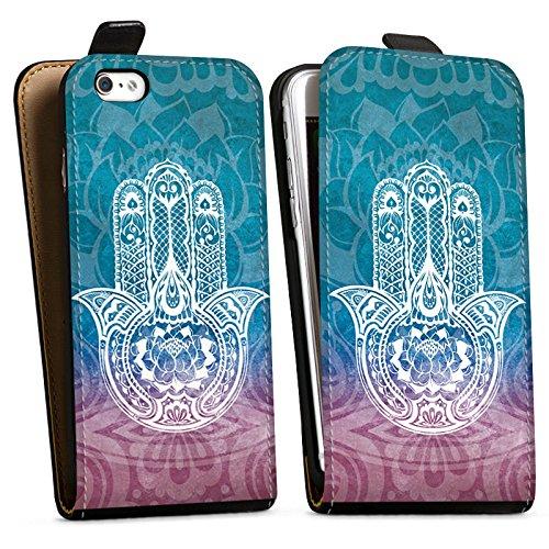 Apple iPhone X Silikon Hülle Case Schutzhülle Hand Mandala Sommer Glücksbringer Downflip Tasche schwarz