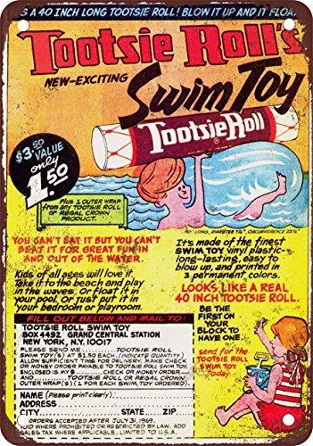 placa-metlica-para-la-pared-1968tootsie-roll-juguete-de-natacin-aspecto-vintage-reproduccin-metal-ti