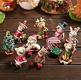 treasure-house dekorativen Ornamenten–8PCS Kunstharz Mini Tiere Schneemann Santa Claus Weihnachtsbaum Micro Home Garten Landschaft Blumentopf Craft Puppenhaus Decor Weihnachten Geschenk Spielzeug
