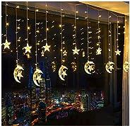 138 LED Star Curtain String Lights, Window Curtain String Light Moon Star String Light USB Plug for Ramadan Wedding Party Hom