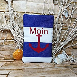 Brillenetui XXL - Handmade - maritim Moin Anker - Größe 9,0 x 15 cm