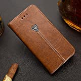 Moto G6 D-Kandy Luxury Leather Flip Wallet Case Metal Logo Stand with Magnetic Closure Card Holder, PU Folio Cover for Motorola Moto G6 - Brown (Brown)