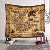 QCWN Altar Tarot Tapestry Wall Hanging,Moon and Sun with Many Fractal Faces Celestial Palmistry Hand Energy Mystic Tapestry for bedroom Living Room Dorm.59x51Inc