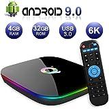 Android TV BOX,Q PLUS Android 9.0 TV BOX 4GB RAM/32GB ROM H6 Quad-Core Supporto 2.4Ghz WiFi 6K HDMI DLNA 3D Smart TV BOX