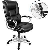 INTEY Bürostuhl, ergonomischer Schreibtischstuhl, Chefsessel aus Kunstleder, Polsterung, Bürosessel mit Wippenfunktion (bis 30°), Bürodrehstuhl belastbar bis 125kg
