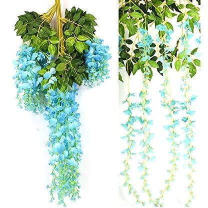 Vidillo Flores Artificiales Plantas 12 Piezas 110 cm Wisteria Artificial para Colgar de Seda para Comedor salón decoración de Boda Fiesta hogar jardín decoración simulación Flor (Purple-D)