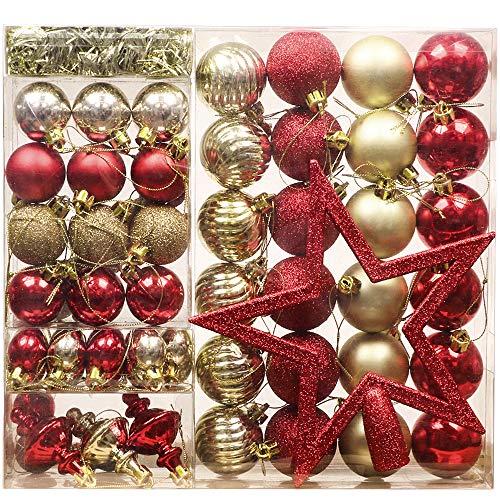 Valery Madelyn Palline Natalizie 60 Pezzi 3-20cm Decorazioni Natalizie in Plastica con Albero di Natale Ghirlande e Ghirlande Tinsel Decorazione Tema Lussuoso Imballaggio Multi-Way in Oro Rosso