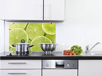 Küchenrückwand Spritzschutz Küche aus Glas Glasrückwand Limetten ...