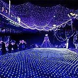 KRISMILEN NET Christmas Fairy Lights impermeabile 8 modalità all'aperto al coperto di Natale festa di nozze decorazione 204LEDs 3M * 2M blu , 3*2