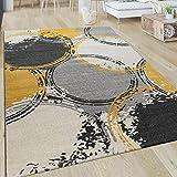 Paco Home Teppich Wohnzimmer Muster Modern Kurzflor Abstrakt Kreise In Gelb Grau Weiß, Grösse:120x170 cm