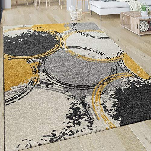 Paco Home Teppich Wohnzimmer Muster Modern Kurzflor Abstrakt Kreise In Gelb Grau Weiß, Grösse:200x290 cm - Abstrakt-modern-teppich