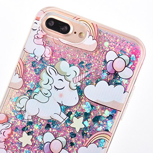Voguecase Pour Apple iPhone 7 Plus 5,5, Dual Layer Luxe Flowing Bling Glitter Sparkles Quicksand et les étoiles Hard Case étui Housse Etui(Noctilucent-QQ expression 01-Violet) de Gratuit stylet l'écra Cheval de dessin animé-Bleu