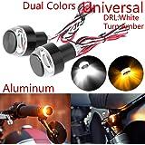 Taben - Indicatori di direzione a LED per moto, con luci stroboscopiche, per manubrio della moto, luci laterali, luci…