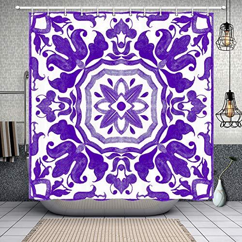 NYMB Dusche Polyester-Vorhänge für Badezimmer,-Wasserdicht Bad Vorhang, Vorhang für die Dusche Haken Enthalten, 175,3x 177,8cm 69'' W by 84'' L Multi20