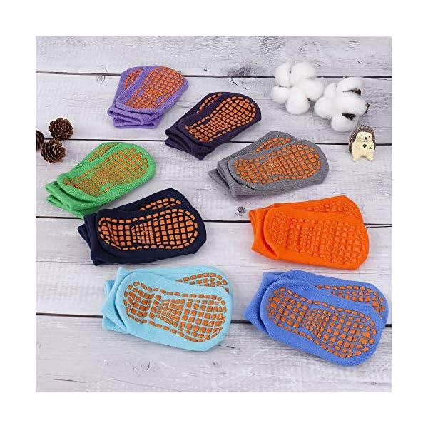 MaoXinTek Calcetines Antideslizantes para Niños Pequeños Algodón Lindo con Puños, Calentar 8 Pares de Zapatillas… 2