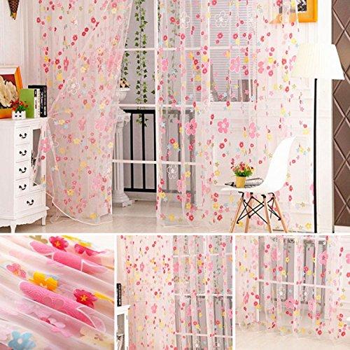 Veryeah Romantisches Tulle-Vorhang-Fenster-Screening mit Blumenförmiger Dekoration für Wohnzimmer