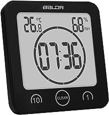 F Fityle Digital LCD Badezimmeruhr Duschuhr Wanduhr Saugnapf mit Thermometer Hygrometer für Bad Küche - Schwarz