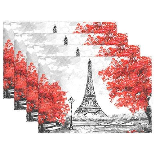 naanle Ölgemälde Paris Frankreich Stadt Eiffelturm schwarz weiß und rot Baum Platzdeckchen Set von 1/4/6waschbar Tisch Matte für Küche Esstisch 30,5x 45,7cm Platzsets Traditionell multi -