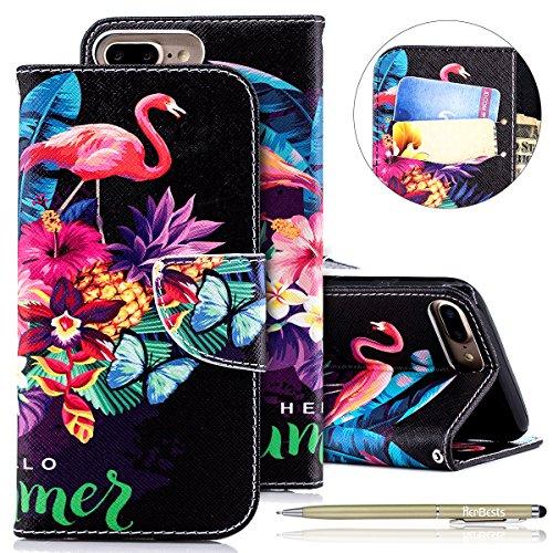 Herbests Kompatibel mit Leder Handyhülle iPhone 8 Plus/iPhone 7 Plus Handytasche Tasche Bookstyle Wallet Case Flip Cover Leder Ständer Etui Brieftasche Klappbar Lederhülle Kartenfach,Flamingo Blumen