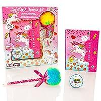 Style Girlz Unicorn Secret Lockable Diary Set - Girls Journal Notebook With Code Lock & Pom Pom Pen