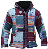 Shopoholic Fashion Festival SUPERCOSY bunte PATCHE NEPLEASE Hippie Jacke Kapuze, Wolle