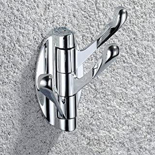 Angle Simple G3190 Wall Mounted Hinged Triple Pronged Coat and Hat Hook, Chrome
