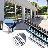 XC 600 x 75cm Spiegelfolie sonnenschutzfolie Ohne Kleber für Fenster Sichtschutzfolie aus PVC 99% UV-Schutz Privatsphäre Glas Fensteraufkleber Fensterfolie 3-5Jahre Lebensdauer(Silber)